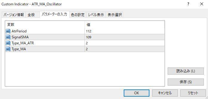 ATR_MA_Oscillatorパラメーター画像