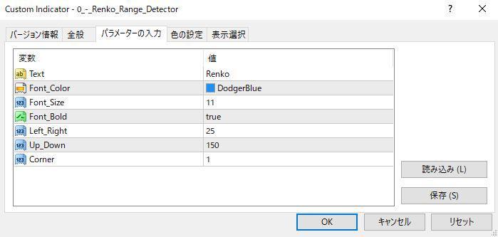 0_-_Renko_Range_Detector.mq4パラメーター画像
