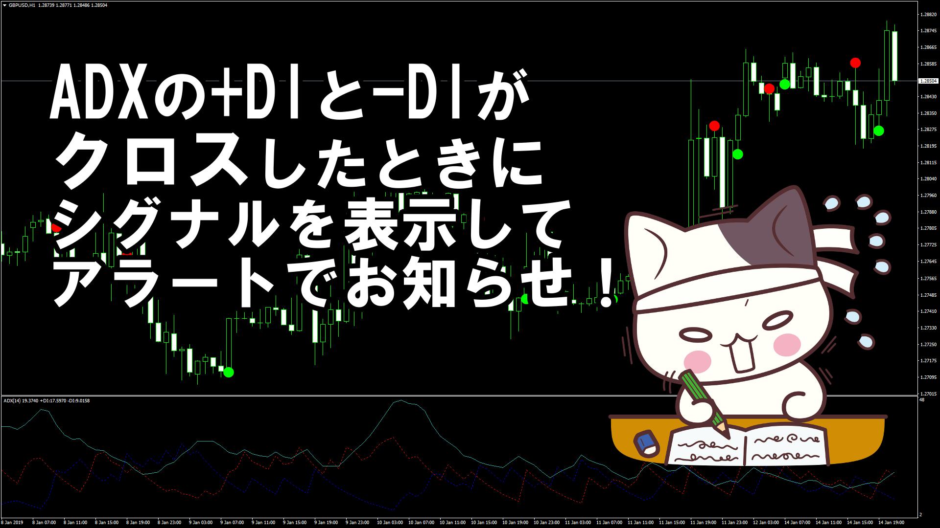 ADXの+DIと-DIがクロスしたときにシグナルを表示しアラートでお知らせしてくれるMT4インジケーター『ADX Crossing v.2.0』
