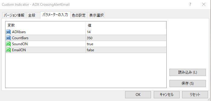 ADX CrossingAlertEmailパラメーター画像
