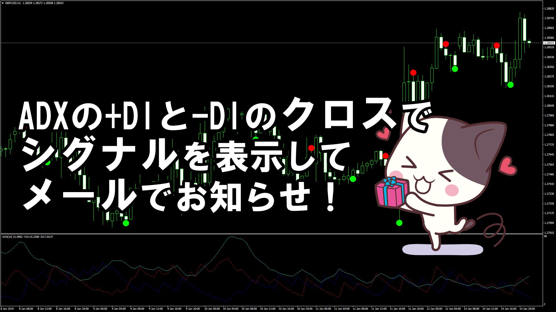 ADXの+DIと-DIのクロスでシグナルを表示してメールでお知らせしてくれるMT4インジケーター『ADX CrossingAlertEmail』