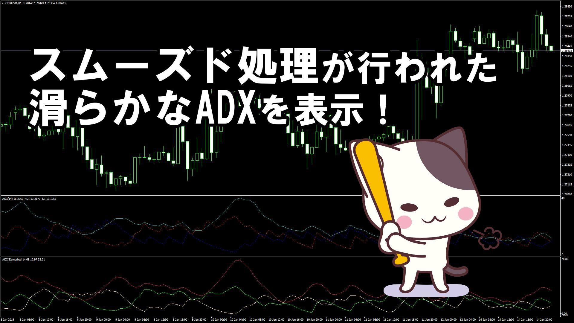 スムーズド処理が行われた滑らかなADXを表示するMT4インジケーター『ADX Smoothed』