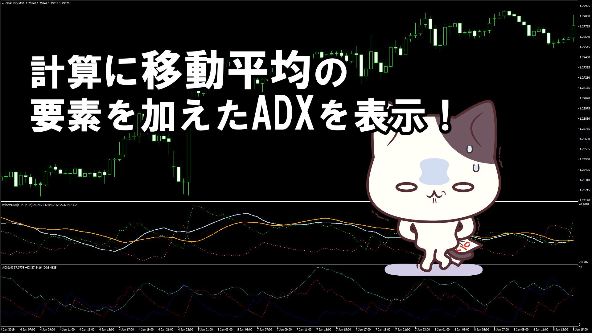 計算に移動平均の要素を加えたADXを表示するMT4インジケーター『ADX_WildersDMI_v1m』
