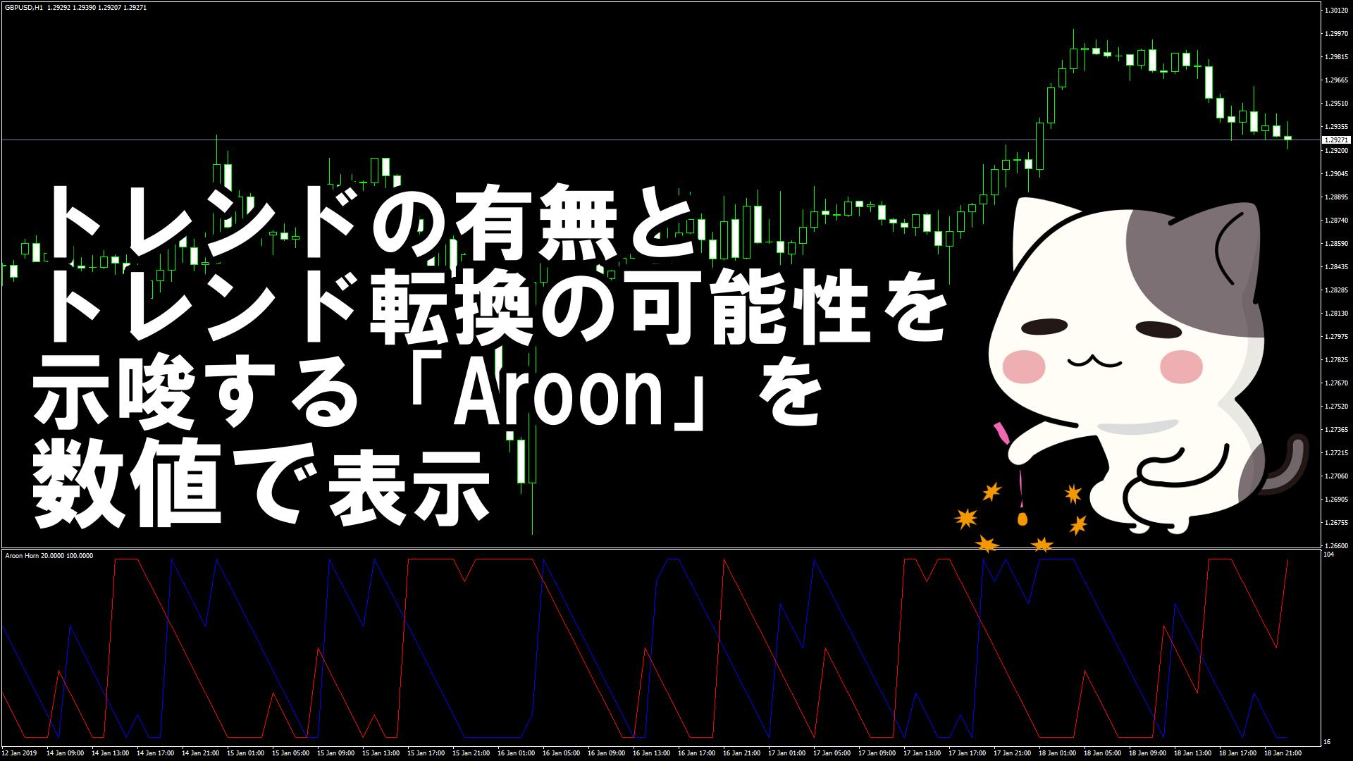 トレンドの有無とトレンド転換の可能性を示唆する「Aroon」を数値で表示するMT4インジケーター『Aroon Horn』