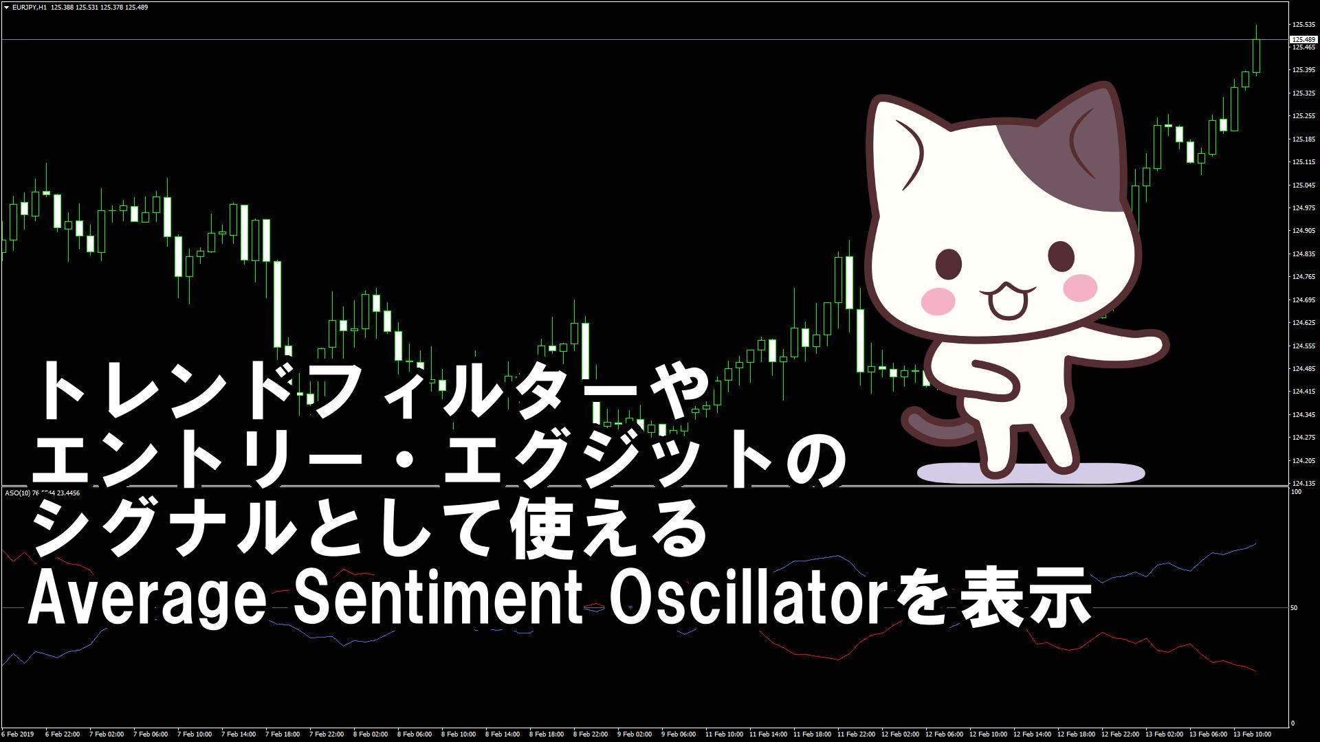 トレンドフィルターやエントリー・エグジットのシグナルとして使えるAverage Sentiment Oscillatorを表示するMT4インジケーター『ASO』