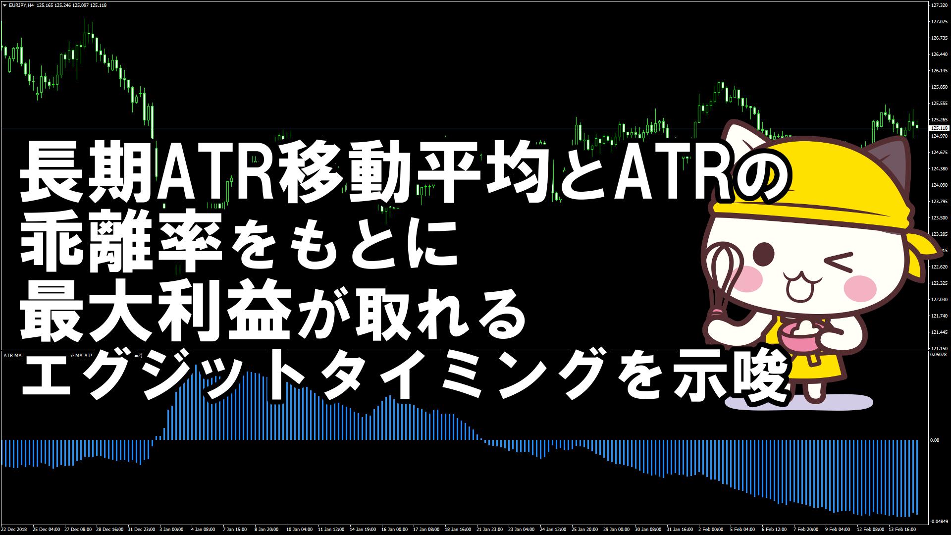 長期ATR移動平均とATRの乖離率をもとに最大利益が取れるエグジットタイミングを示唆するMT4インジケーター『ATR_MA_Oscillator』