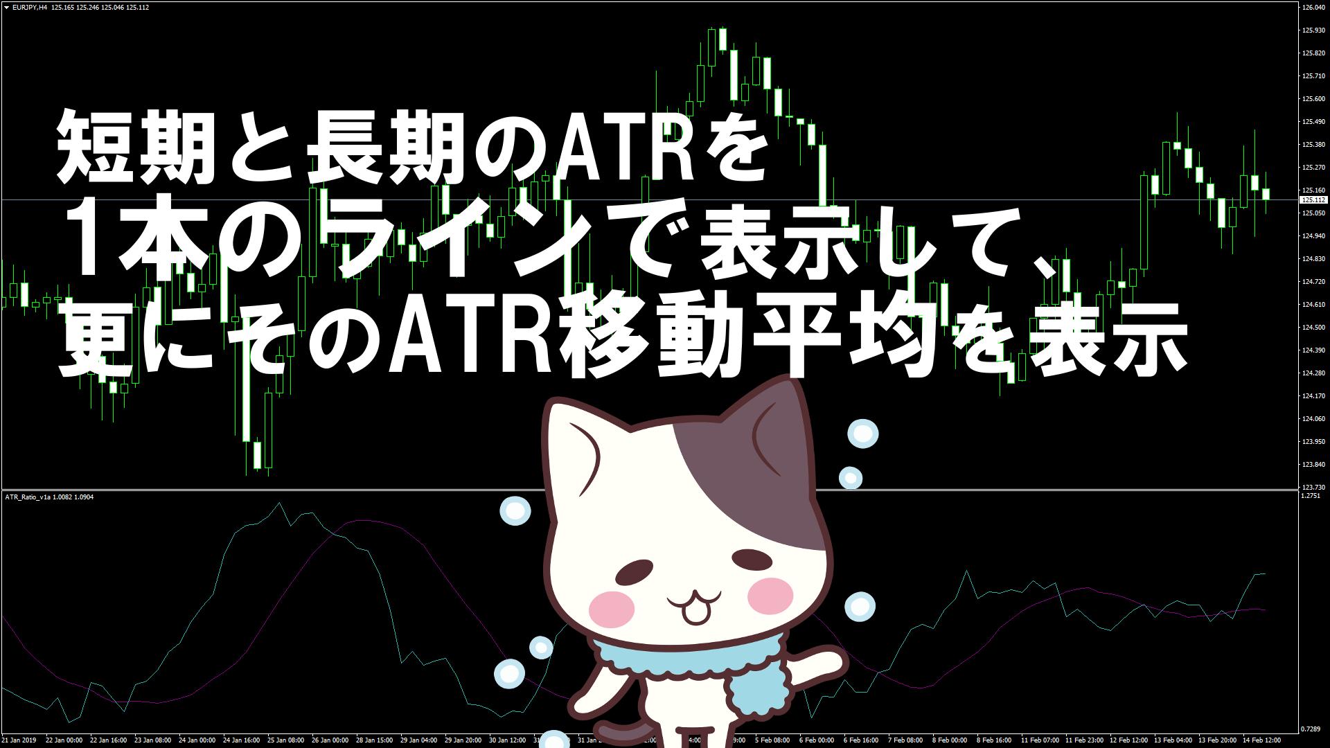 短期と長期のATRを1本のラインで表示して、更にそのATR移動平均を表示するMT4インジケーター『ATR_Ratio_v1a』