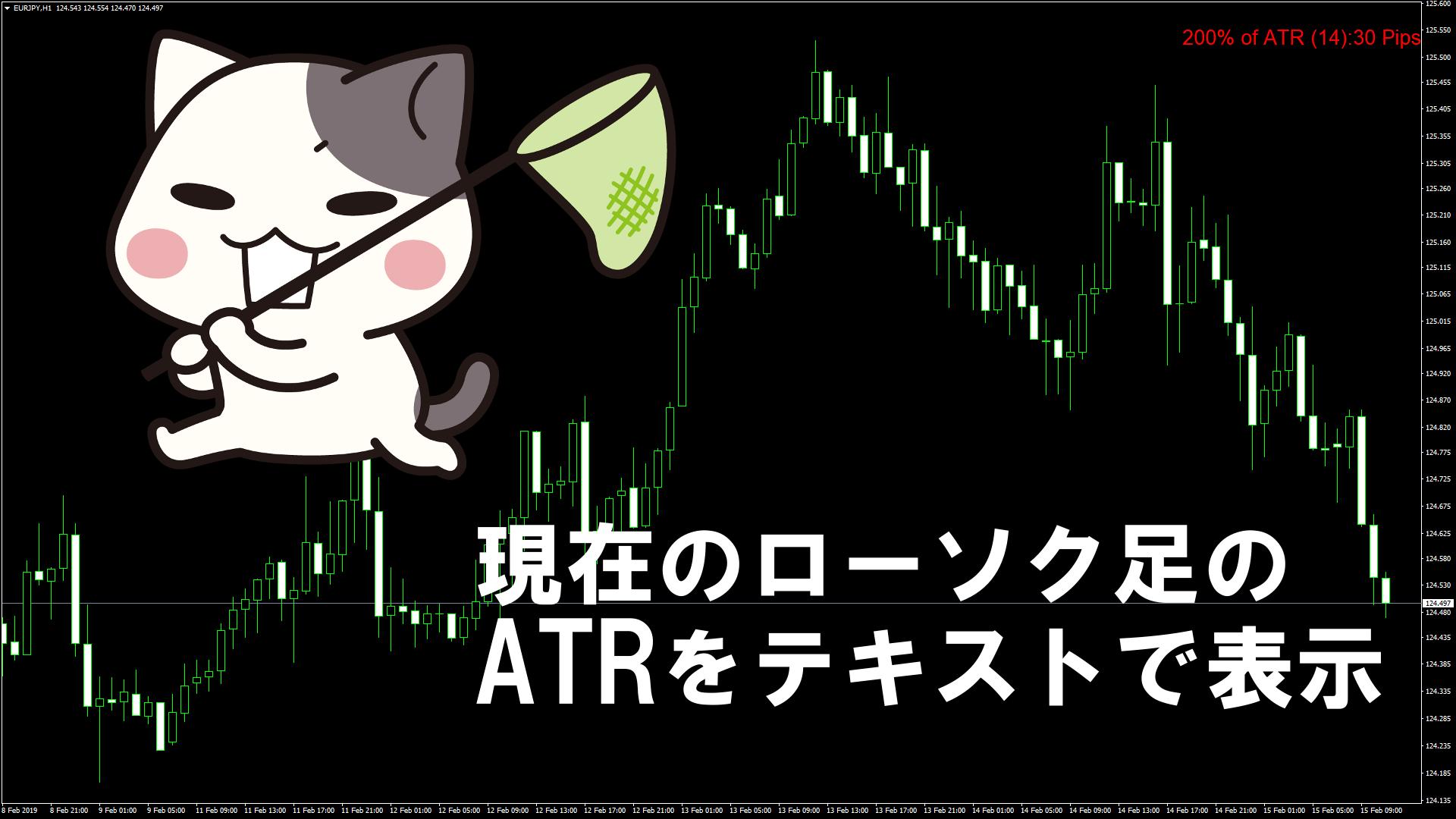 現在のローソク足のATRをテキストで表示するMT4インジケーター『atr_value_indicator』