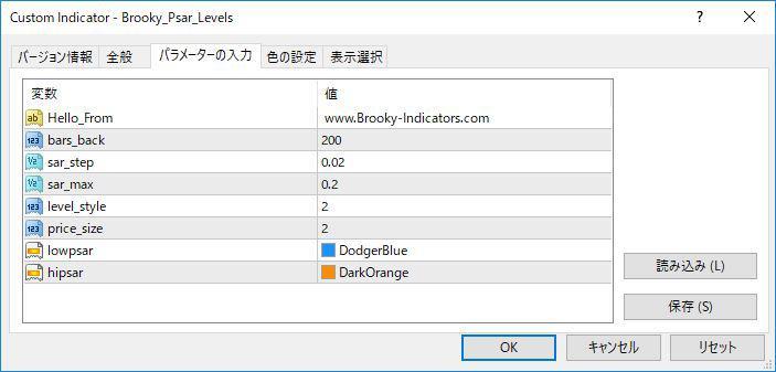 Brooky_Psar_Levelsパラメーター画像