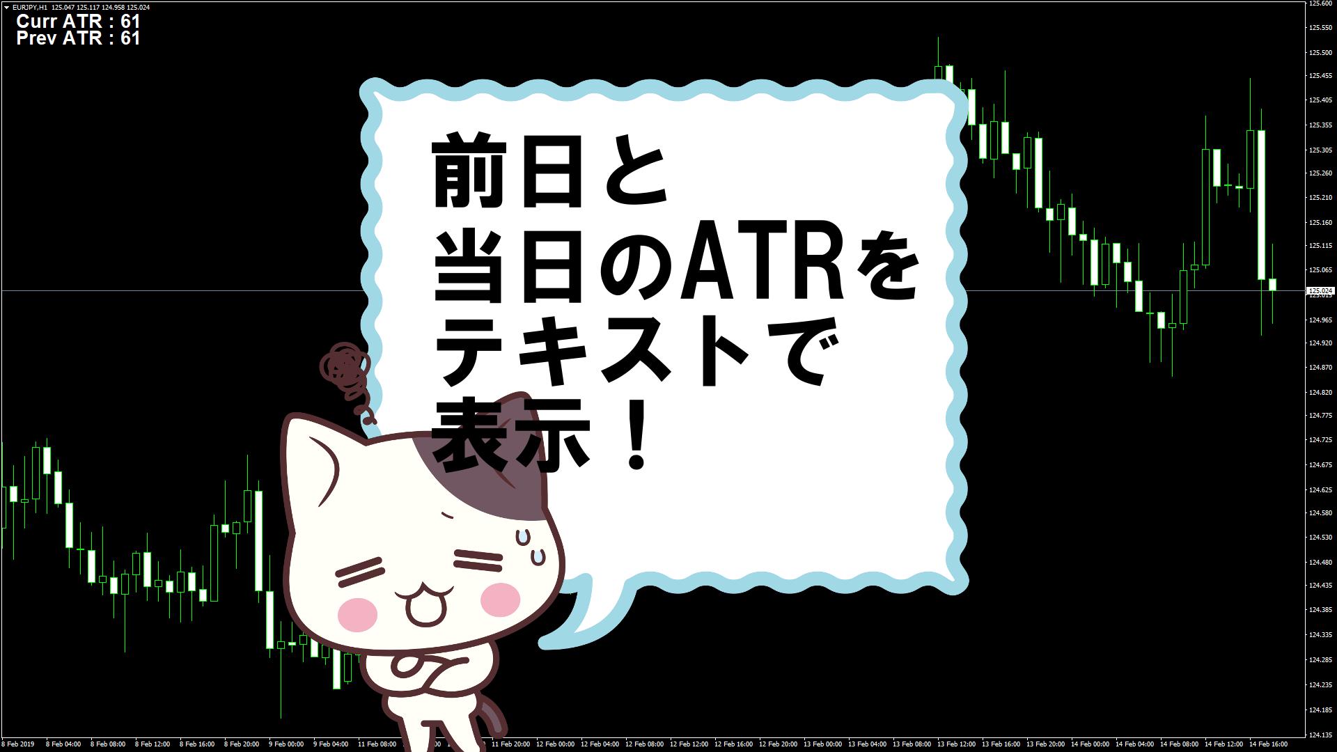 前日と当日のATRをテキストで表示するMT4インジケーター『ATR_Chart_Daily』