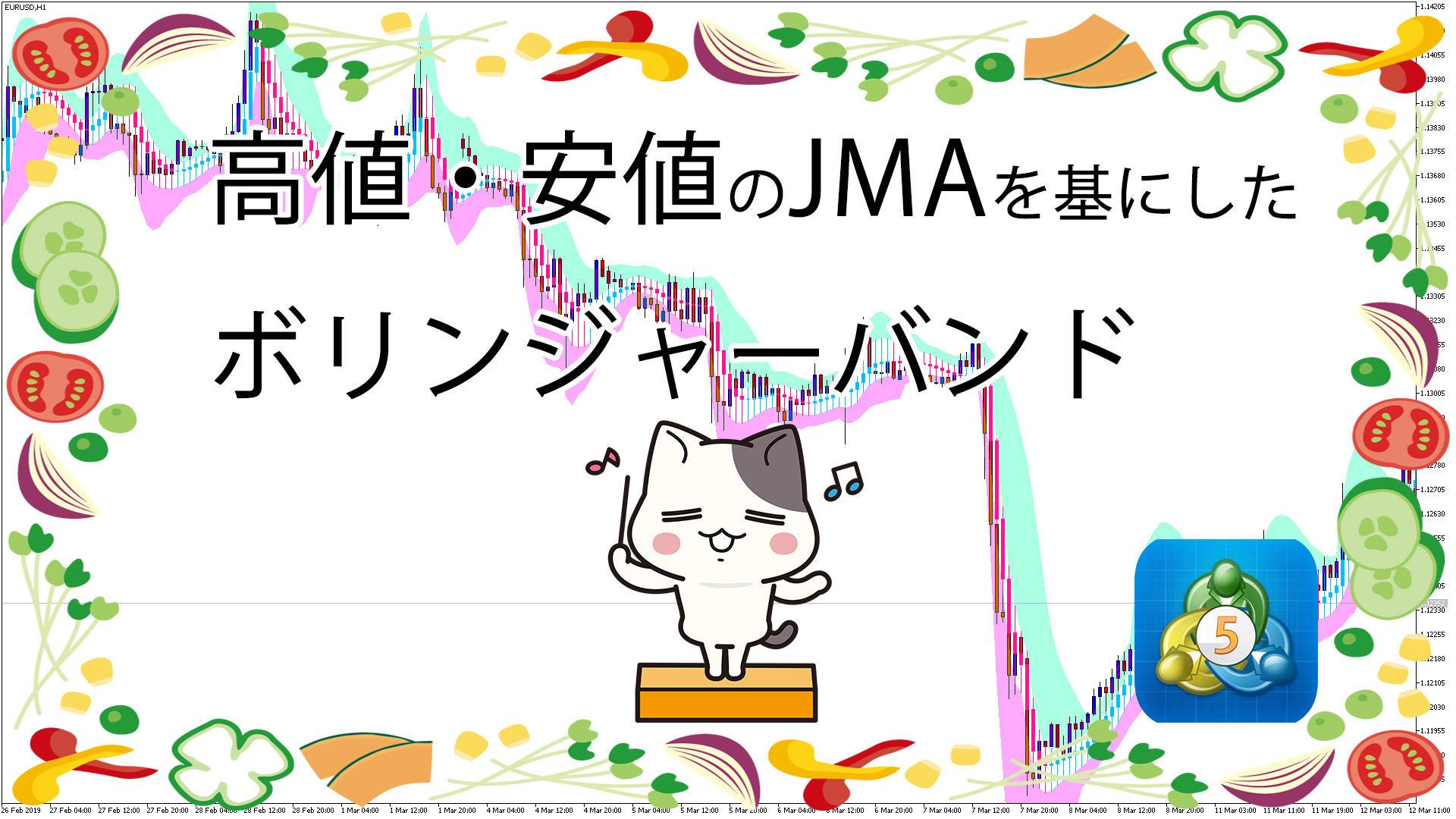 高値・安値のJMAをもとにしたボリンジャーバンドを表示するMT5インジケータ-「JMACandle_Chl」