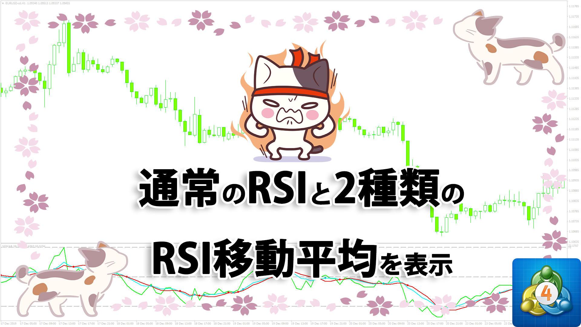 通常のRSIと2種類のRSI移動平均を表示するMT4インジケーター「SGMAR」