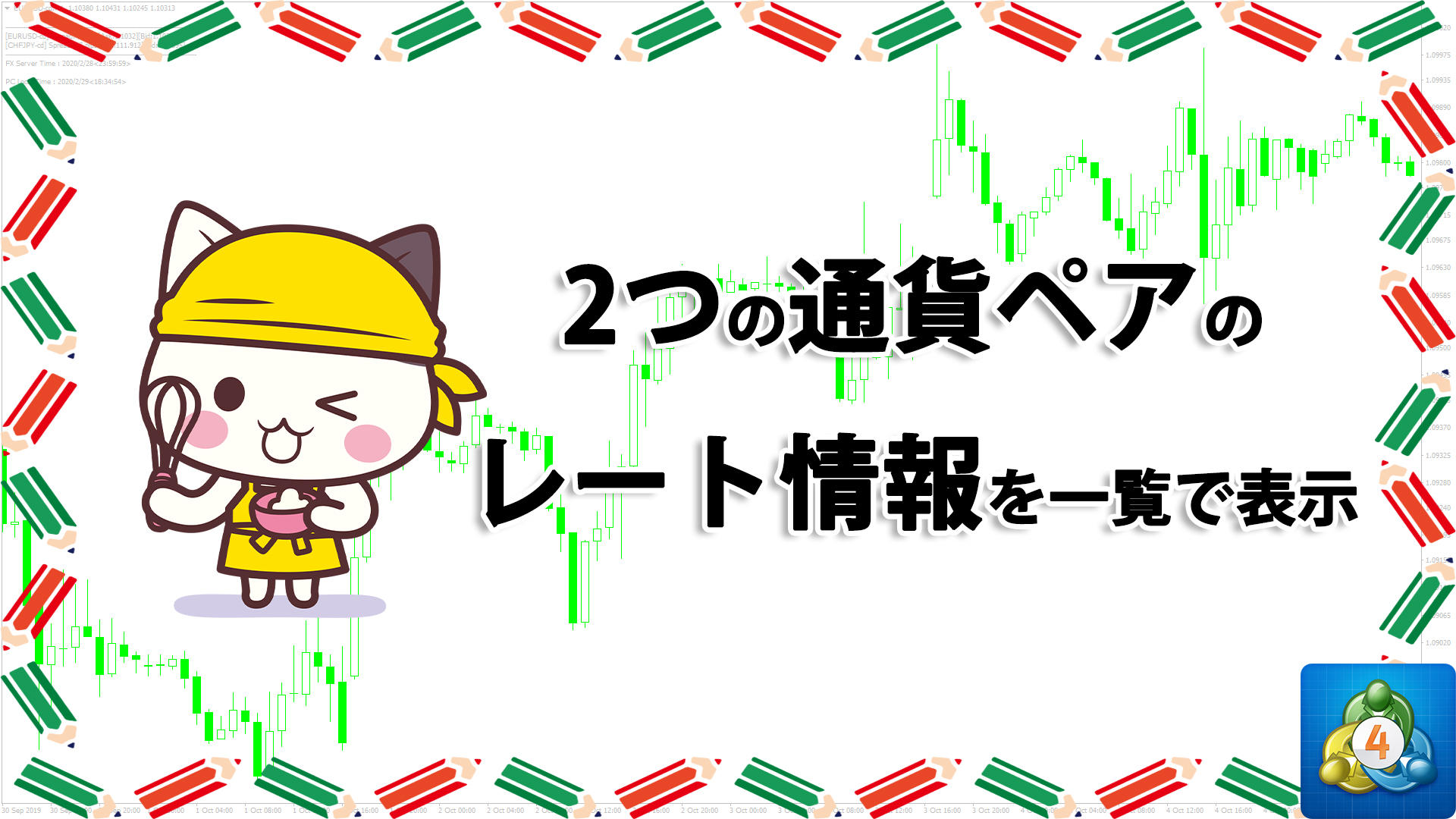 2つの通貨ペアの買値や売値、スプレッドなどを一覧で表示するMT4インジケーター「SayaView」