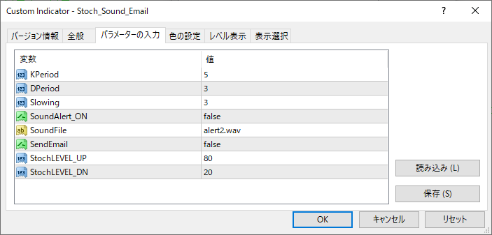 Stoch_Sound_Emailパラメーター画像