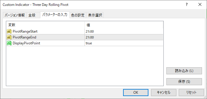 Three_Day_Rolling_Pivotパラメーター画像