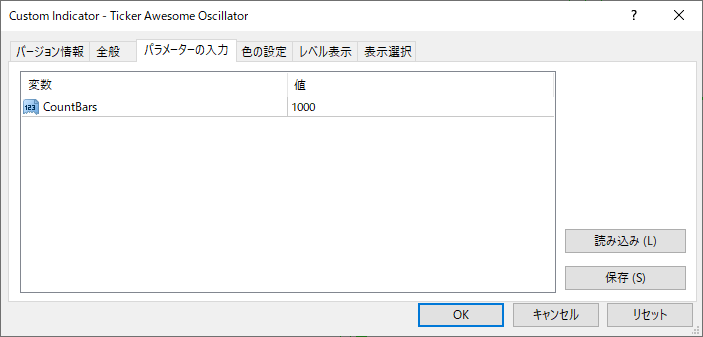 Ticker_Awesome_Oscillatorパラメーター画像