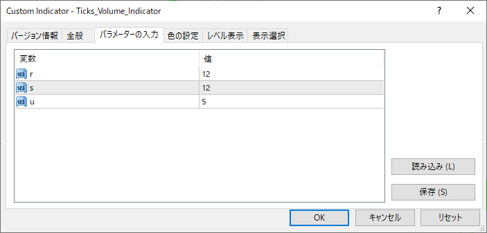 Ticks_Volume_Indicatorパラメーター画像