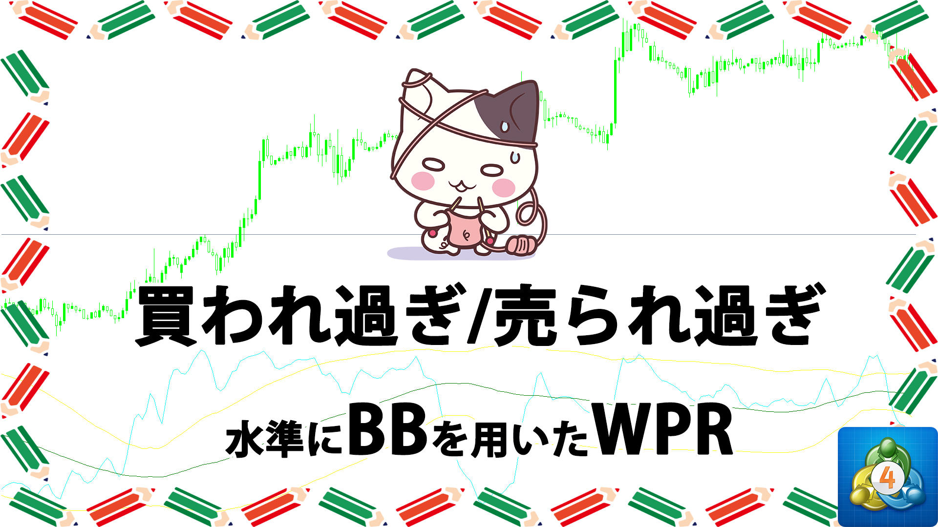 ボリンジャーバンドを買われ過ぎ/売られ過ぎ水準として用いるWPRを表示するMT4インジケーター「VininI_BB_MA_WPR(v1)」
