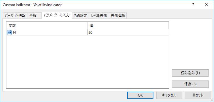 VolatilityIndicatorパラメーター画像