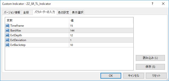 ZZ_SR_TL_Indicator.mq4パラメーター画像
