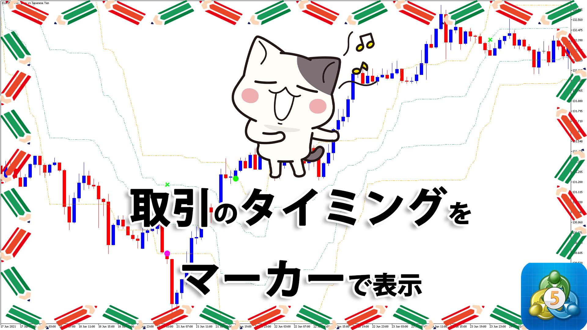 取引のタイミングをマーカーで表示するMT5インジケーター「arrows_curves」