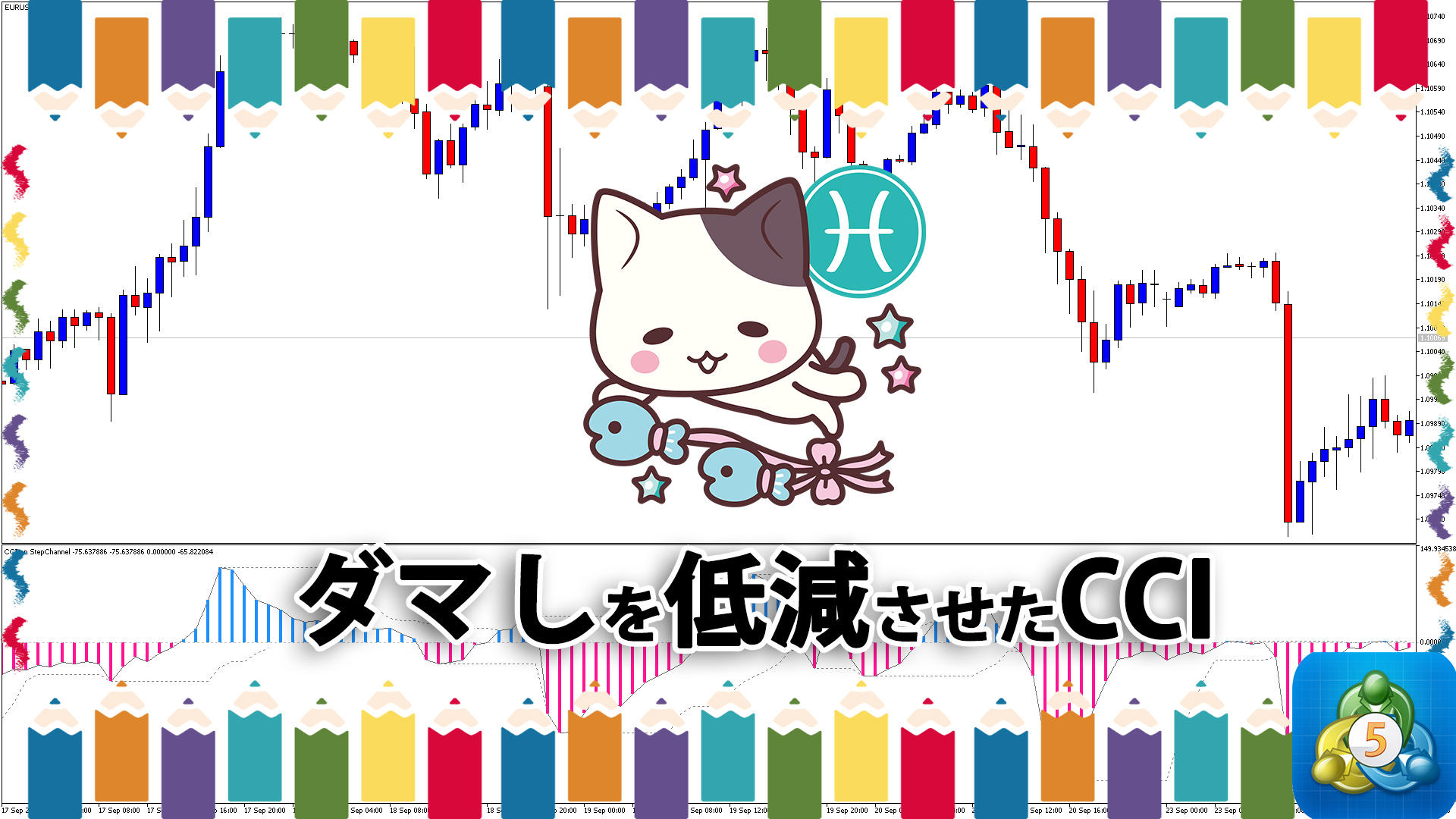 ステップチャネルでダマしを低減させたCCIを表示するMT5インジケーター「cci_on_stepchannel」
