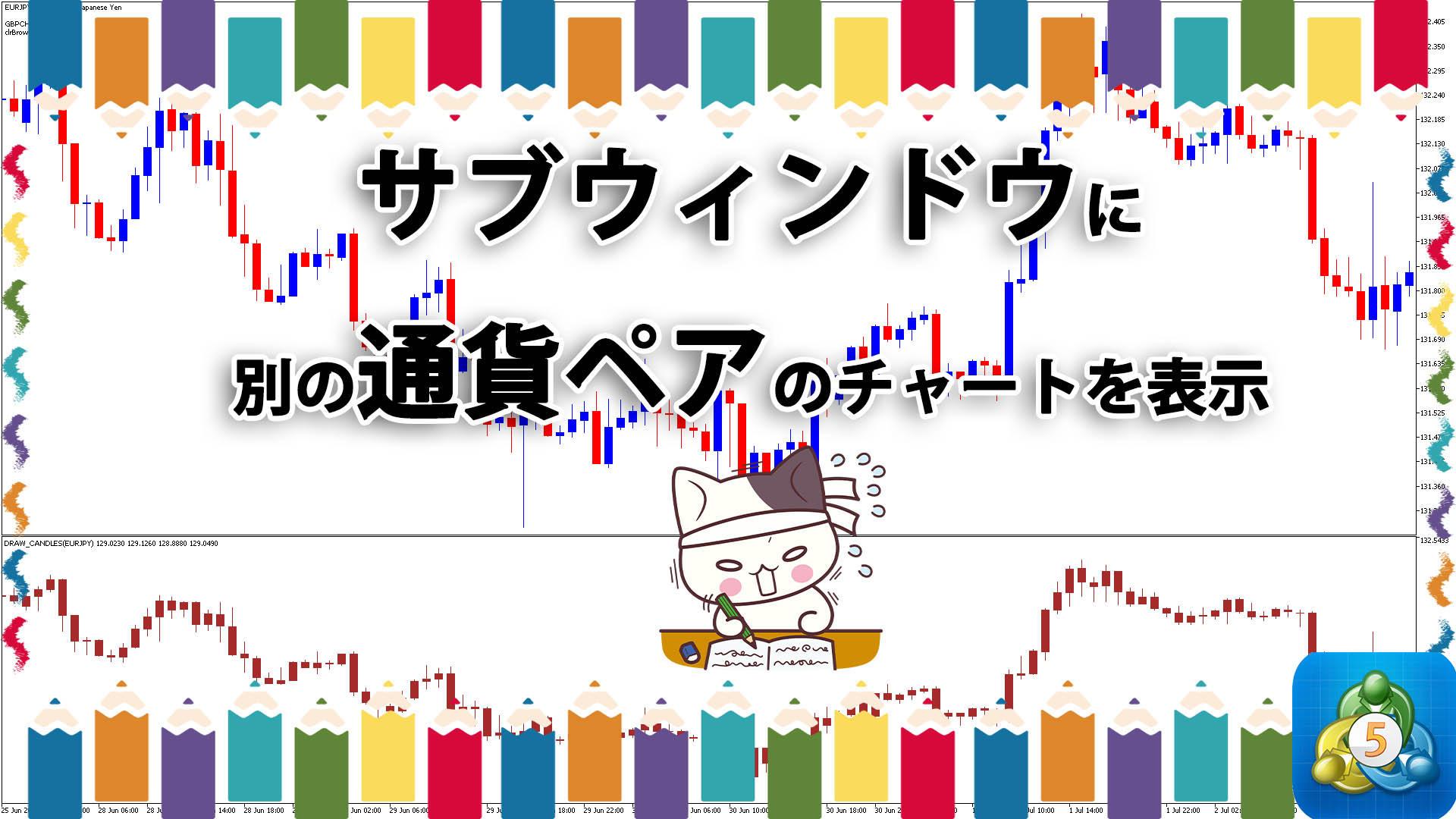 サブウィンドウに別の通貨ペアのローソク足を表示するMT5インジケーター「draw_candles」