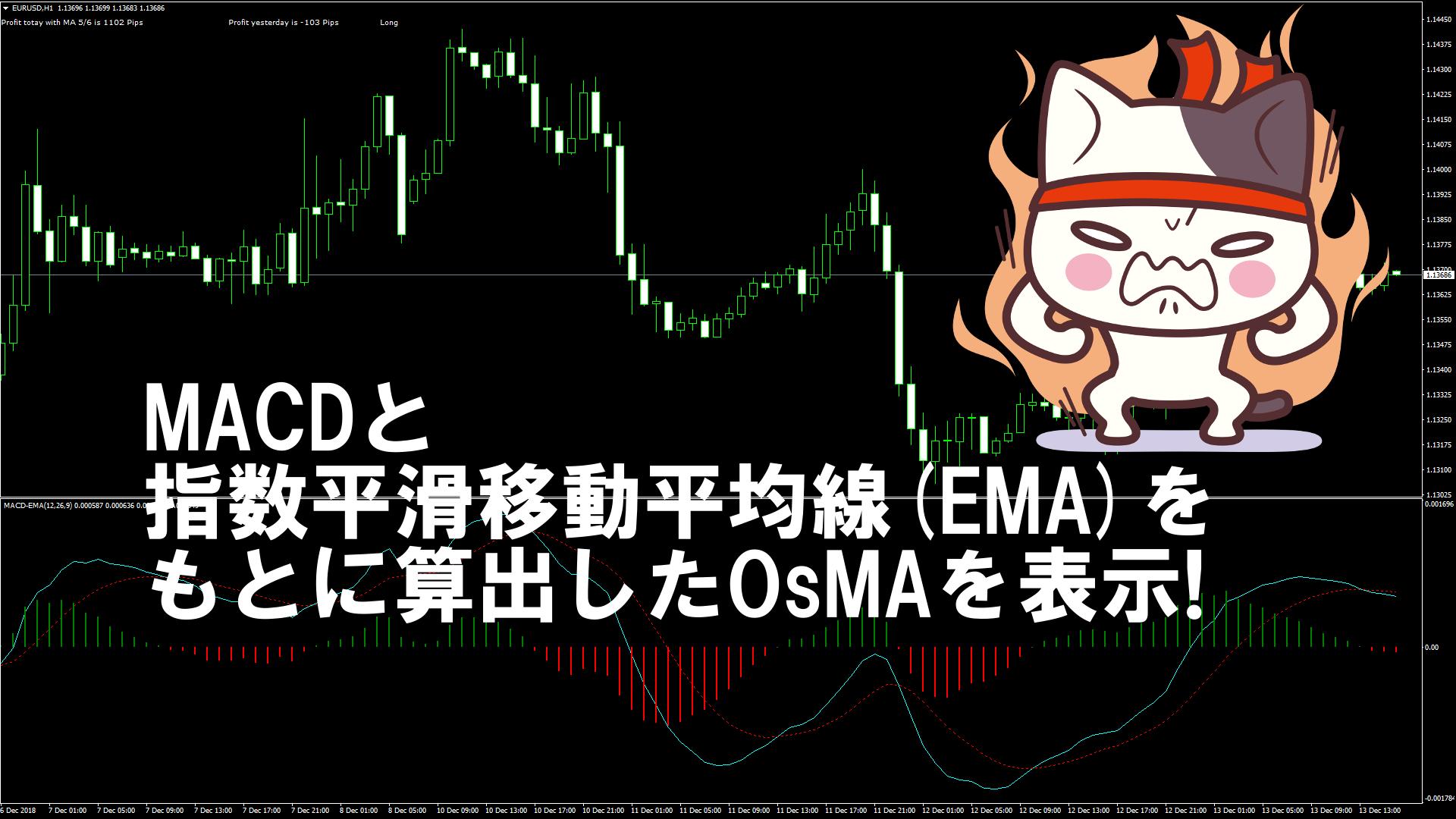 MACDと指数平滑移動平均線(EMA)をもとに算出したOsMAを表示するMT4インジケーター『MACD_EMA』