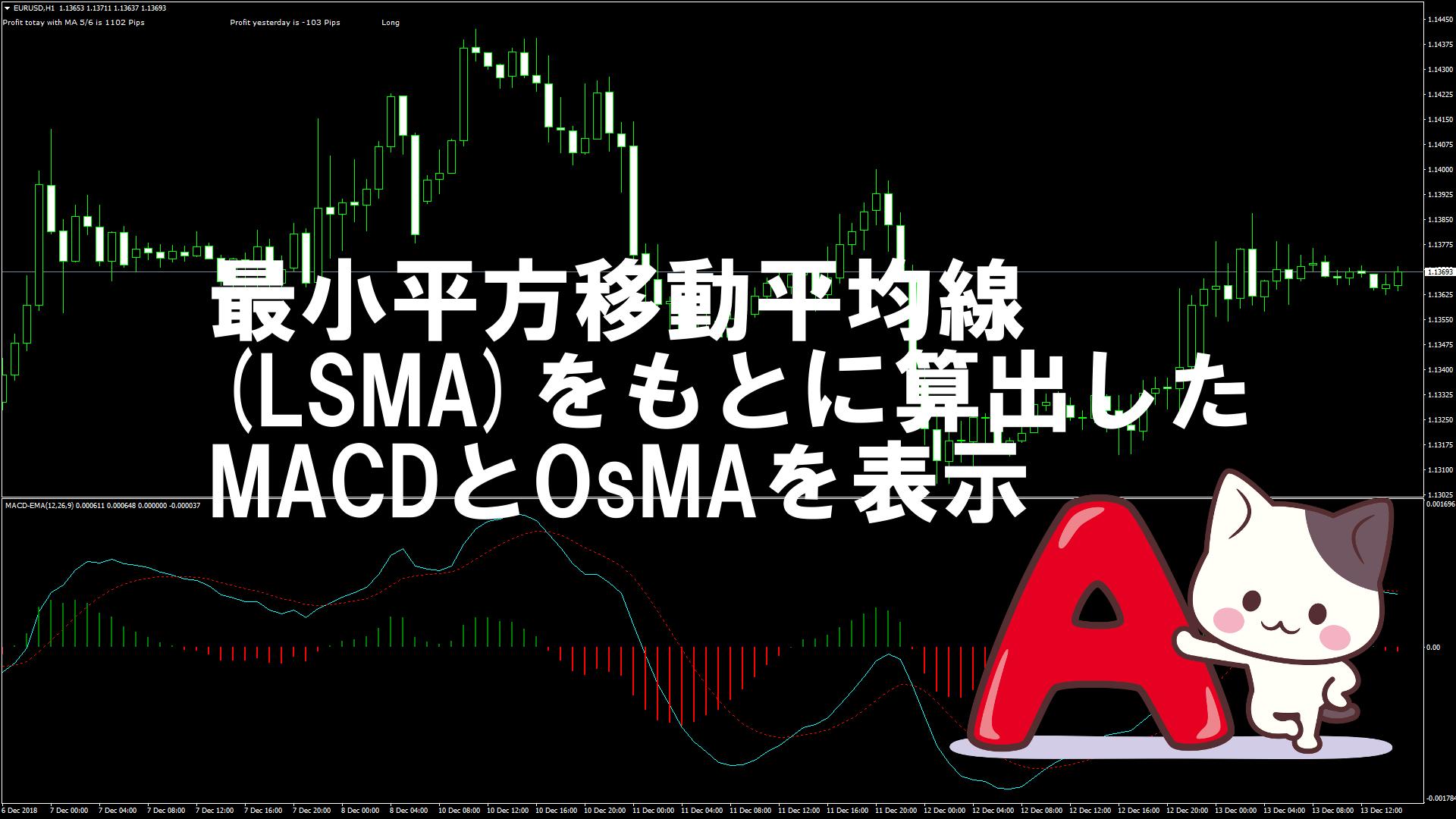 最小平方移動平均線(LSMA)をもとに算出したMACDとOsMAを表示するMT4インジケーター『MACD_LSMA』