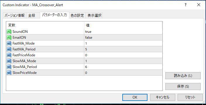 MA_Crossover_Alertパラメーター