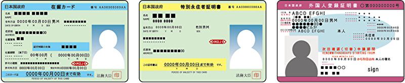 外国人登録証・在留カード・特別永住者証明書